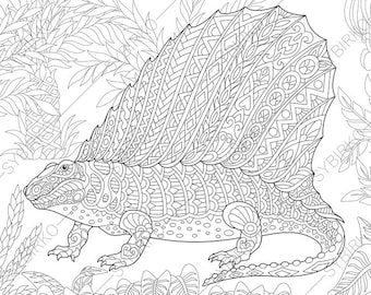 Dimetrodon Dinosaur Dino Coloring Pages Animal Book For Adults Instant Download Print