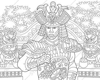 Japanese Samurai Warrior. Coloring Pages. Coloring book pages for Kids and Adults. Instant Download Print