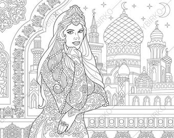 Turkish Woman. Arabic Islamic Decor. Coloring Pages. Coloring book pages for Kids and Adults. Instant Download Print