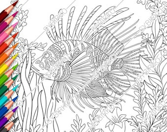 Coloring pages for adults. Sea Ocean Fishes. Adult coloring pages ... | 270x340