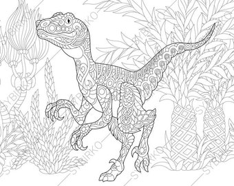 Velociraptor Dinosaur Raptor Dino Coloring Pages Animal Book For Adults Instant Download Print