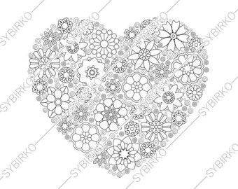 Sale Adult Coloring Pages Heart Flowers Valentines Day Etsy