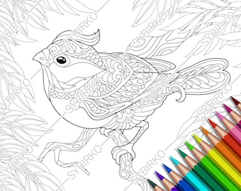 Free printable abstract bird adult coloring page. Download it in ... | 270x340