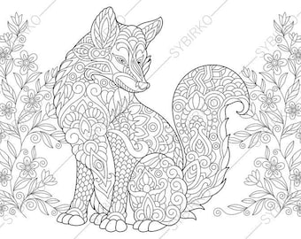 Fox. 2 Coloring Pages. Animal coloring book pages for Adults. | Etsy