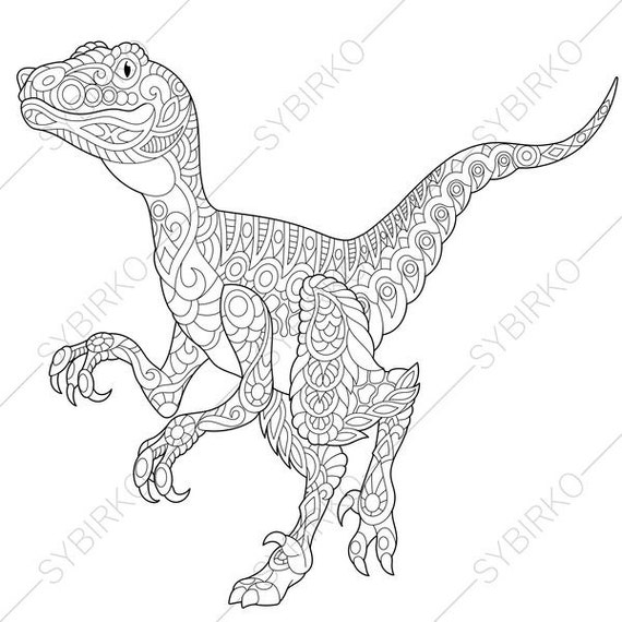 Velociraptor Dinosaur Raptor Dino Coloring Pages Animal Etsy