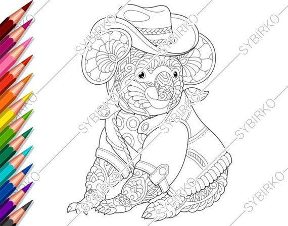 Coloring Pages For Adults Koala Cowboy Adult Coloring Pages Etsy