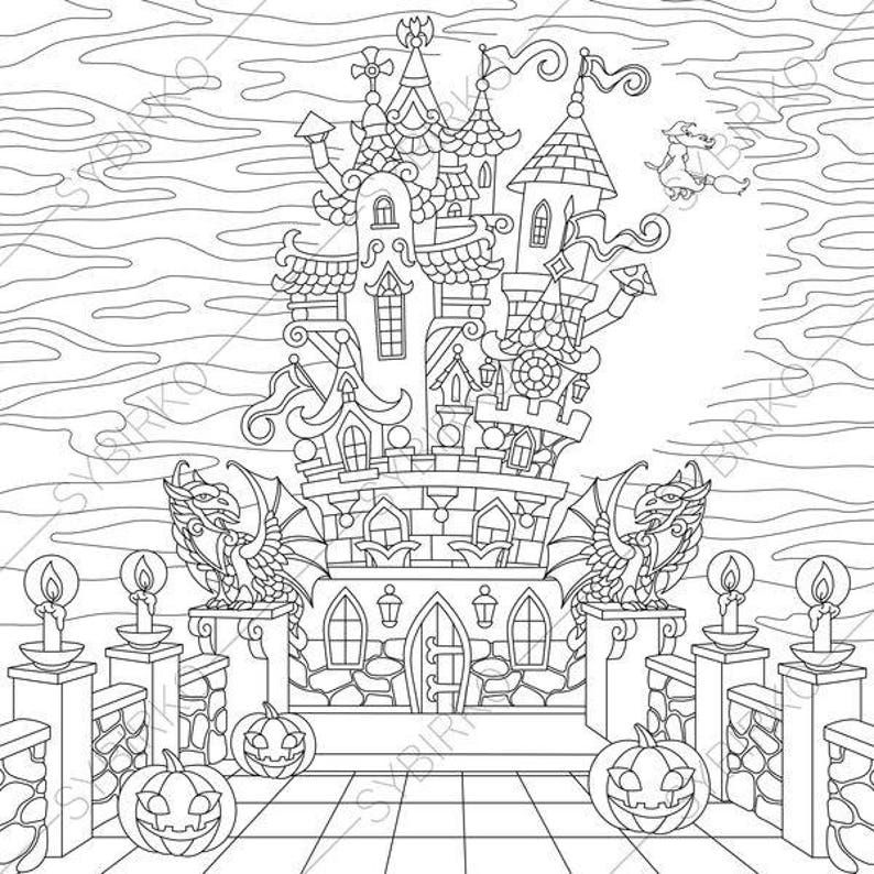 Coloring Page For Adults Halloween Horror Spooky Castle Happy Halloween Greeting Card Coloring Book For Adults Instant Download Print