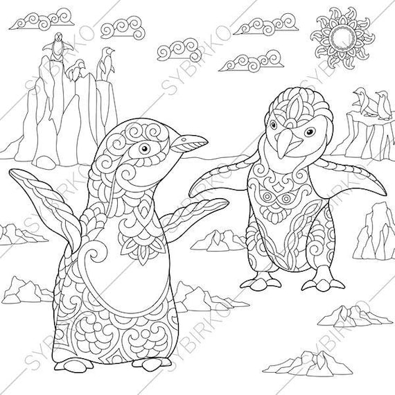 coloring pages penguins in love | Emperor Penguins. 3 Coloring Pages for Friendship day ...