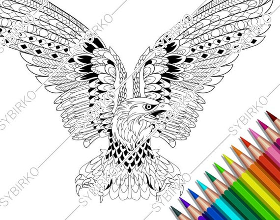 Eagle coloring page. Detail zentangle eagle for coloring page ... | 448x570
