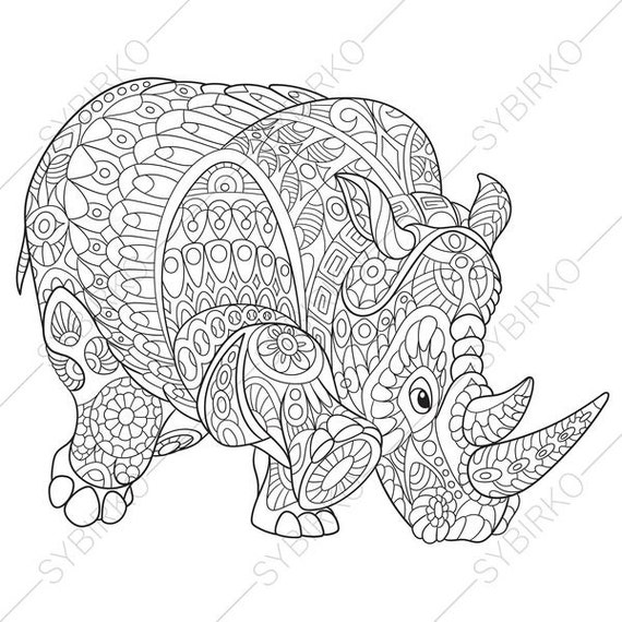 Rhino Rhinoceros Coloring Page Animal Coloring Book Pages Etsy