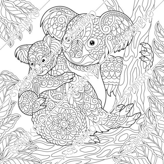 Coloring Pages. Koala Bears Family. Animal Coloring Book For Etsy