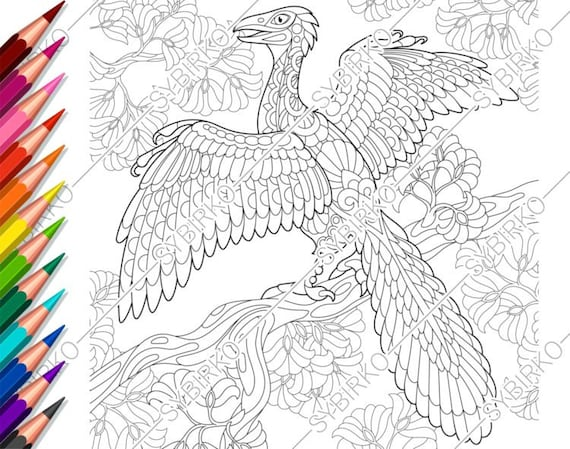 Coloring Pages For Adults. Archeopteryx Dinosaur. Adult Etsy