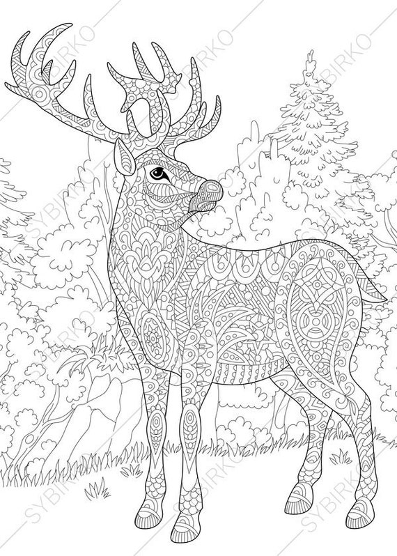 Coloring Pages For Adults Deer Reindeer Adult Colouring