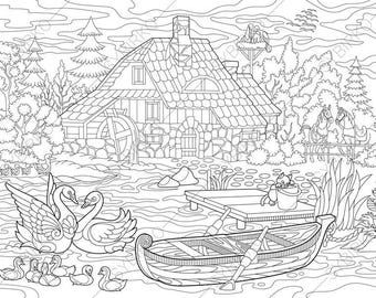 Rural Landscape. Farm House and Animals. Coloring Pages. Coloring book pages for Kids and Adults. Instant Download Print