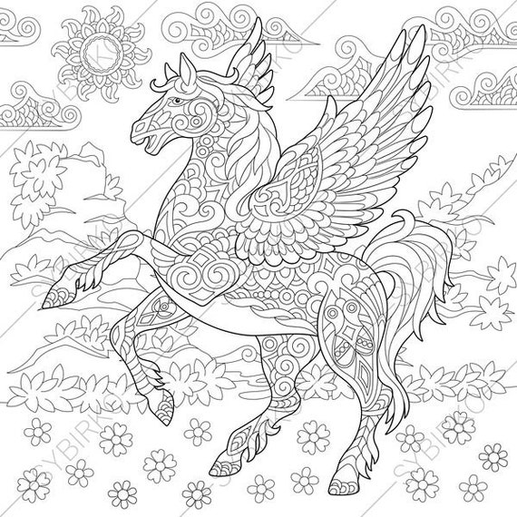Pegasus Flying Horse Fairytale Coloring Pages Animal Etsy