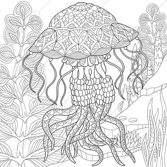 Ocean World. Jellyfish. Jelly fish. 2 Coloring Pages. Animal