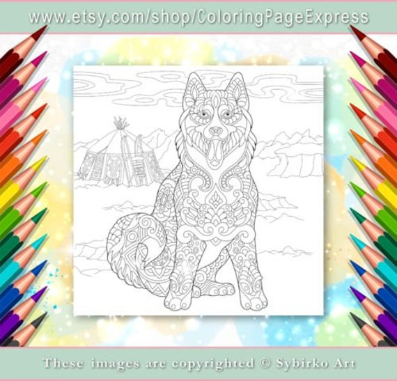 Coloring Page For Adults Digital Coloring Page Siberian Etsy