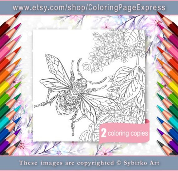 Coloring Page For Adults Digital Coloring Page Bumble Bee Etsy