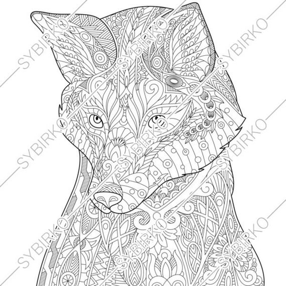 Coloring pages for adults. Fox. Wild fox. Adult coloring pages. Animal  coloring pages. Digital jpg-pdf coloring page. Instant download print