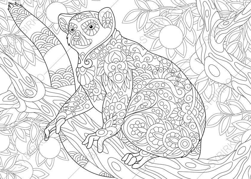 madagascar lemur 3 coloring pages animal coloring book pages etsy. Black Bedroom Furniture Sets. Home Design Ideas