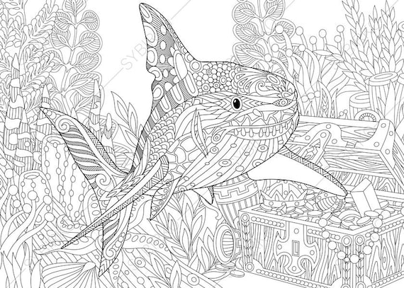 Ocean World. Shark And Treasure Chest. Coloring Pages. Animal