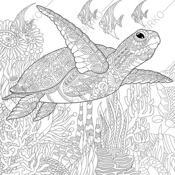 coloring pages for adults ocean world turtle underwater etsy Singapore Chinese Garden 50