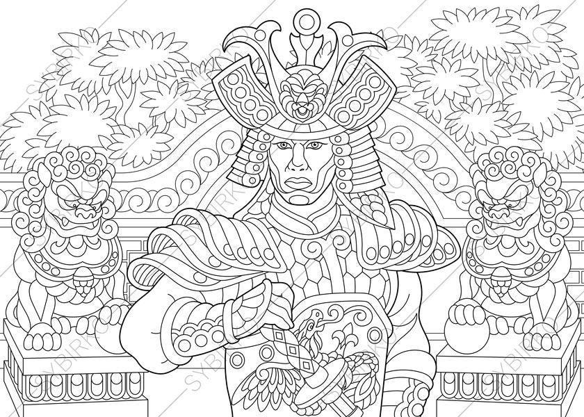 warrior coloring pages for kids | Japanese Samurai Warrior. Coloring Pages. Coloring book ...