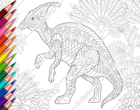 Coloring Pages For Adults. Hadrosaur Dinosaur. Adult Coloring Etsy