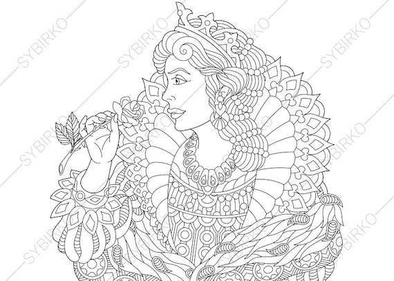 Vintage queen coloring pages coloring book pages for for Selling coloring pages on etsy