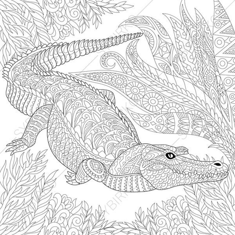 Coloring Pages for adults. Crocodile. Wild Alligator. Adult colouring  pages. Animal coloring book. Instant Download. Printable pdf jpg files