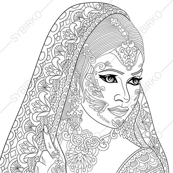 india coloring pages for adults | Indian Woman. Paisley Henna Tattoo. Coloring Pages ...