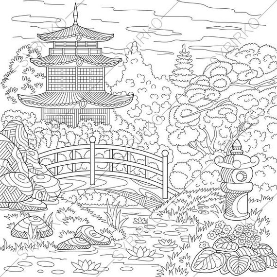 Japanese Garden Coloring Pages Book