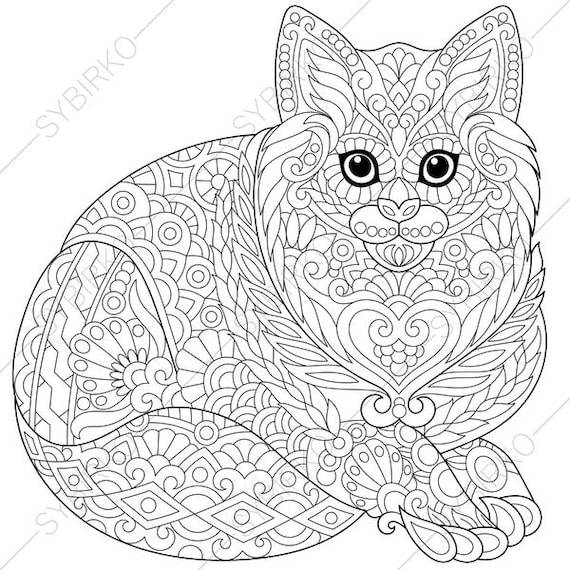 Cat Kitten Coloring Page For National Pet Day Greeting Cards Animal Coloring Book Pages For Adults Instant Download Print