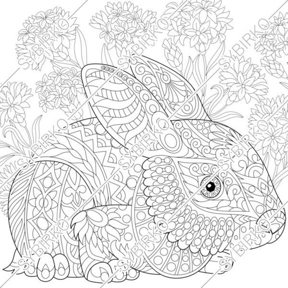 Coloring pages. Easter Bunny. Christmas Rabbit. Adult coloring pages. Animal coloring pages. Digital jpg-pdf coloring page. Instant download