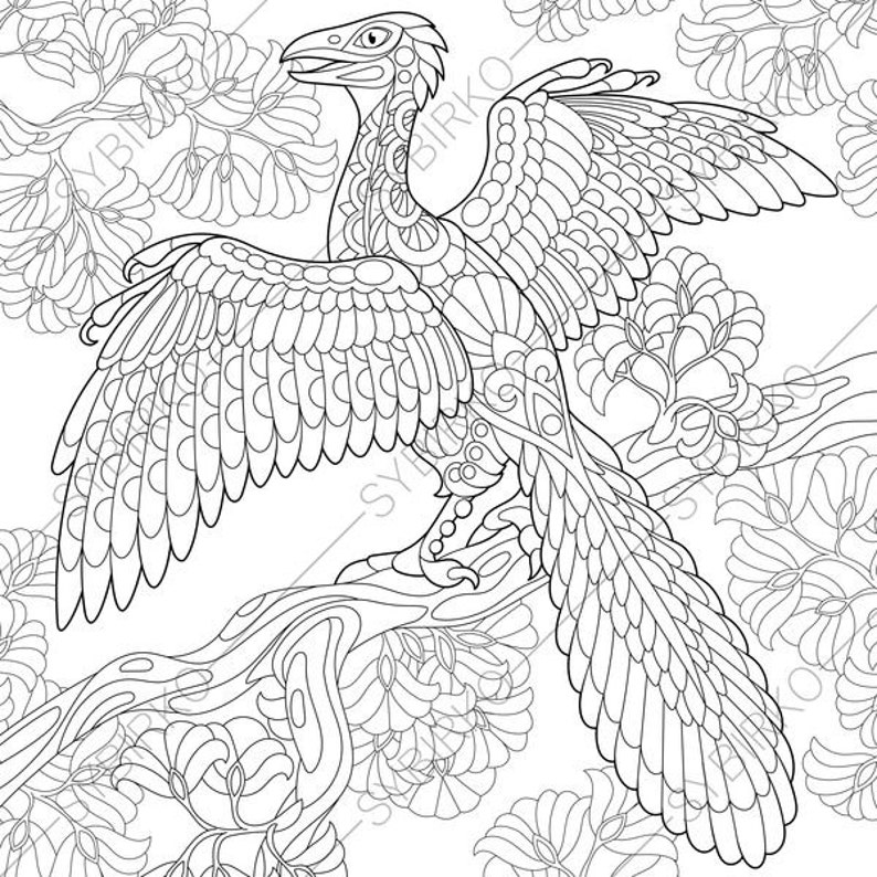 Archeopteryx Dinosaur Dino Coloring Pages Animal Etsyrhetsy: Dinosaur Bird Coloring Pages At Baymontmadison.com