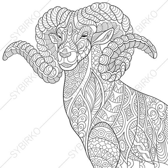 Mountain Goat 2 Coloring Pages Animal Coloring Book Pages For Adults Instant Download Print