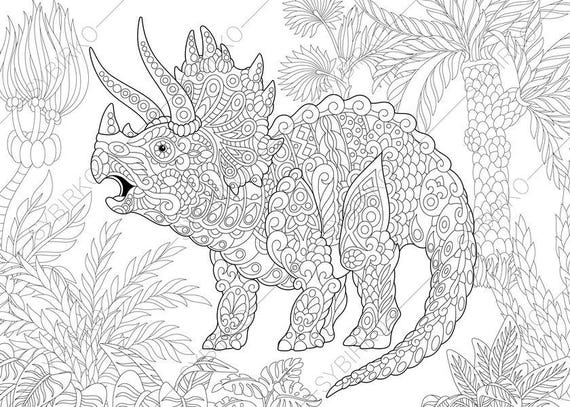 Coloring Pages For Adults. Triceratops Dinosaur. Dino Etsy