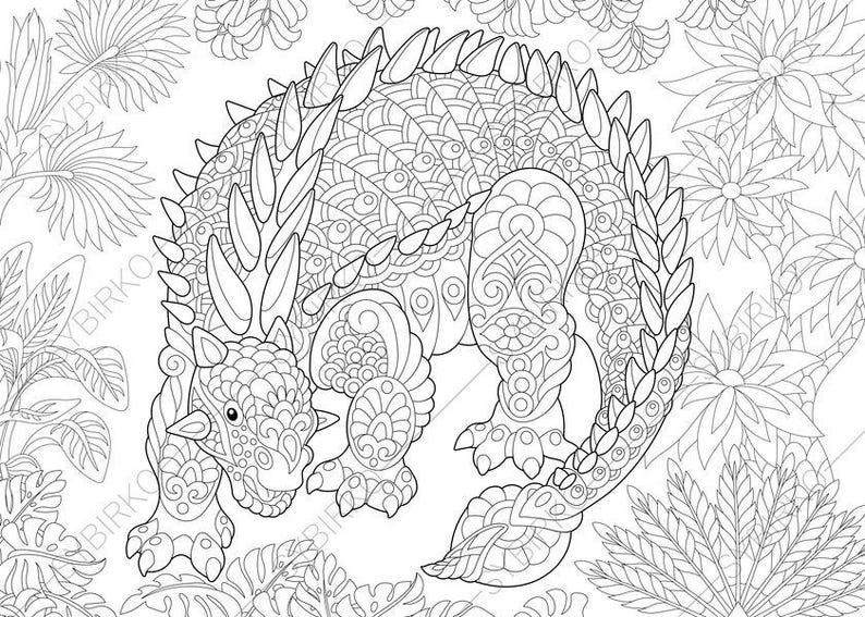 Ankylosaurus Dinosaur. Dino Coloring Pages. Animal coloring | Etsy