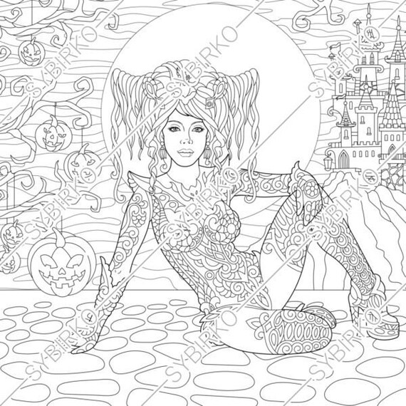 Coloring pages. Halloween Witch. Gothic Girl. Coloring book for adult.  Instant Download. pdf jpg files. Printable coloring pages for adults.