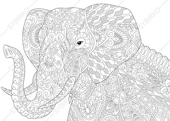 Elephant Coloring Pages Animal Coloring Book Pages For Etsy
