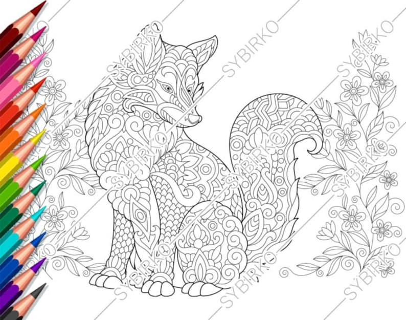 Coloring Pages For Adults Fox Flowers Adult Coloring Pages Animal Coloring Pages Digital Jpg Pdf Coloring Page Instant Download Print