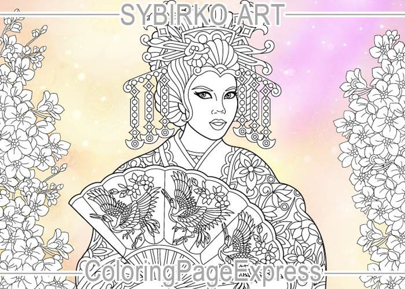 Coloring Pages For Adults Japanese Geisha Oriental Colouring Etsy