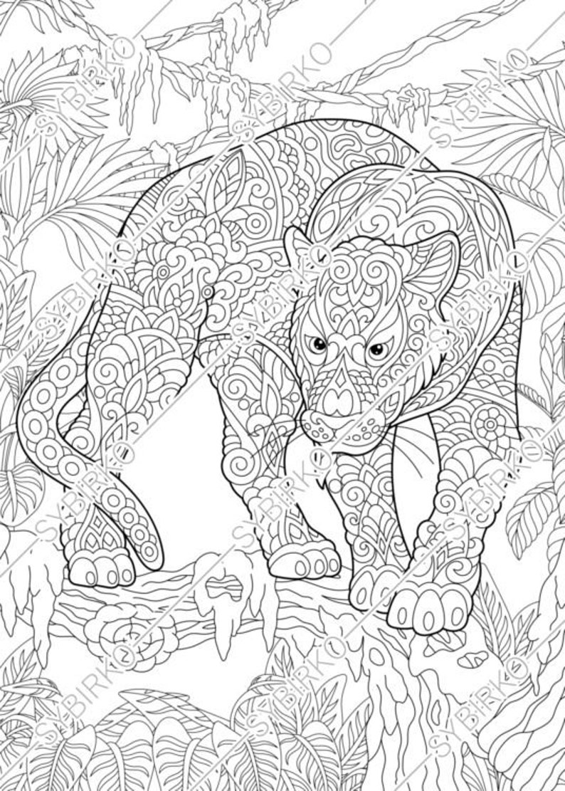 Coloring pages. Black Panther. Puma. Animal coloring book ...