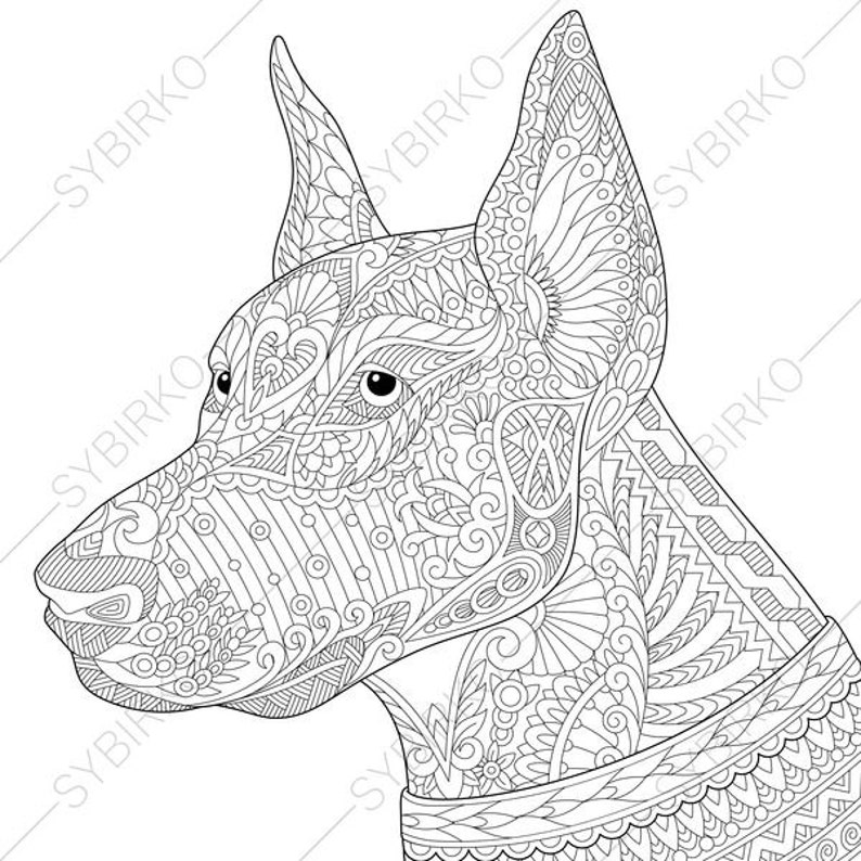 Doberman Dog. Coloring Page for National Pet day greeting | Etsy