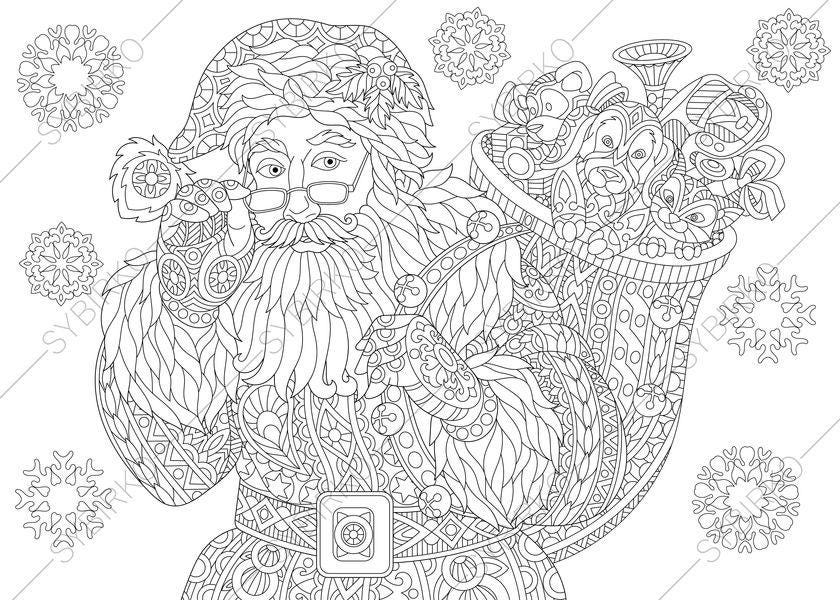 Coloring Page For Adults. Santa Claus. Merry Christmas