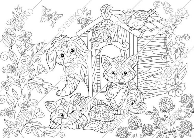 Coloring Pages For Adults. Cats & Dog. Adult Coloring Pages. Etsy