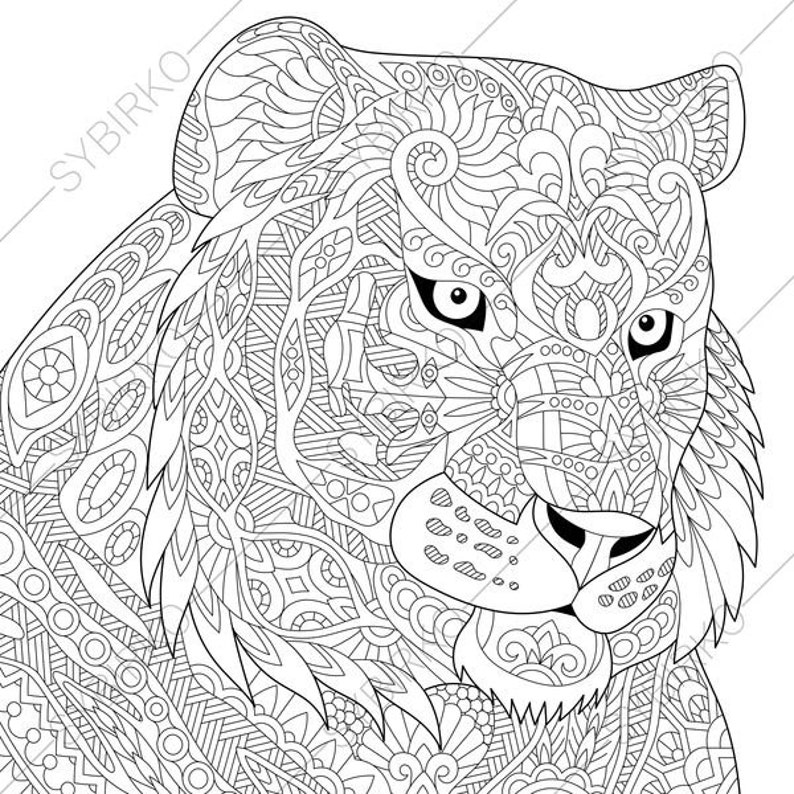Tiger Coloring Page Animal Coloring Book Pages For Adults Instant Download Print