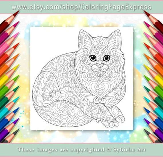 Coloring Page For Adults. Digital Coloring Page. Cat. Kitten. Etsy