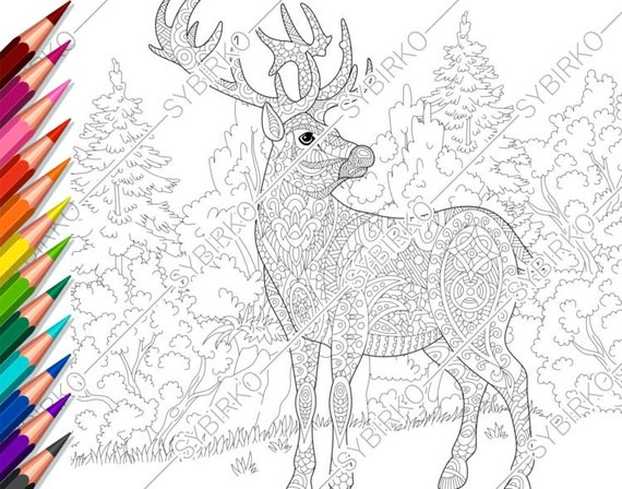Coloring Pages For Adults Forest Deer Reindeer Adult Etsy