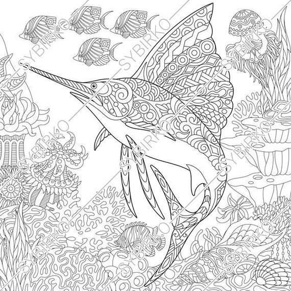 Coloring pages for adults. Ocean world. Sailfish. Fish. | Etsy